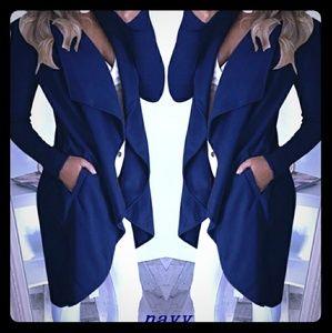 Jackets & Blazers - Women Asymmetric Long Sleeved Lapel Collar Cardiga